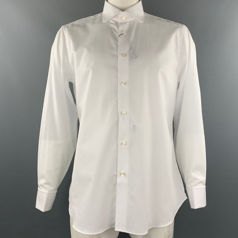BARNEY'S NEW YORK Size L White Cotton French Cuff Long Sleeve Shirt
