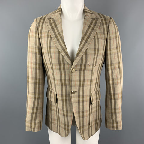 MARIO MATTEO Size 36 Tan Plaid Cotton / Flax Peak Lapel Sport Coat