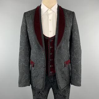 DOLCE & GABBANA 40 Black Brocade & Burgundy Velvet 3pc Suit