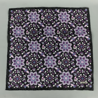 TOM FORD Black & Purple Floral Silk Pocket Square