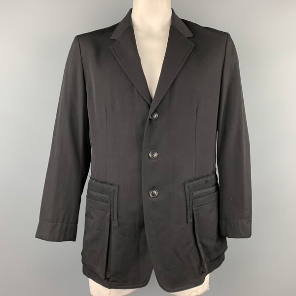 YOHJI YAMAMOTO Size L Black Wool Notch Lapel Buttoned Jacket