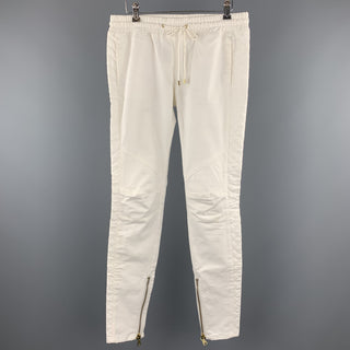 PIERRE BALMAIN Size 27 Cream Quilted Cotton Drawstring Casual Pants