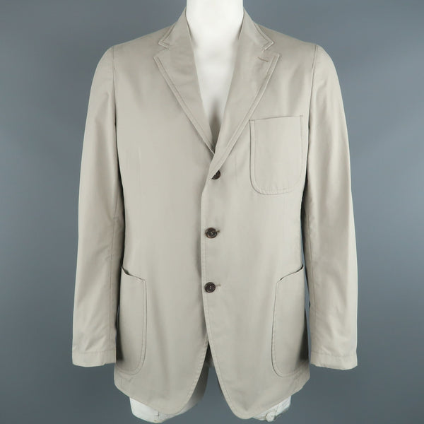 PRADA 44 Regular Light Grey Solid Cotton Notch Lapel  Sport Coat