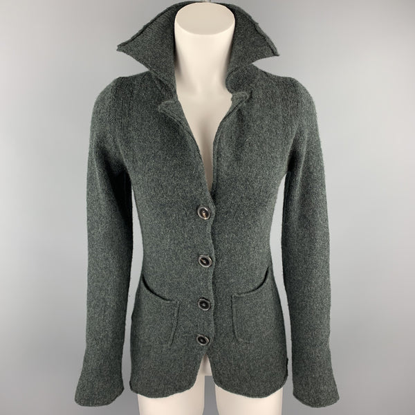 CASMARI Size 2 Dark Green Knitted Cashmere / Lycra Buttoned Cardigan