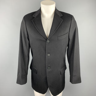 ZANETTI Size 40 Regular Black Cashmere / Wool Sport Coat