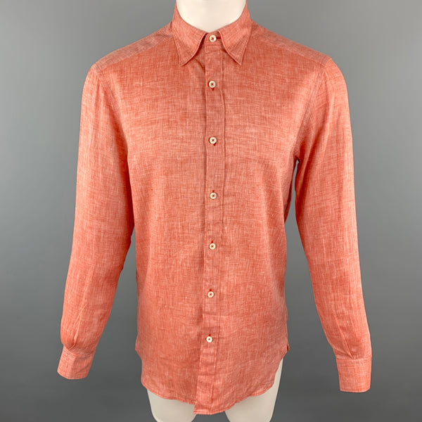 ERMENEGILDO ZEGNA Size S Orange Linen Button Down Long Sleeve Shirt