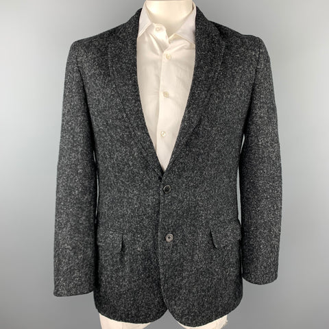 LOUIS VUITTON Size 44 Black & Grey Textured Wool / Alpaca Sport Coat
