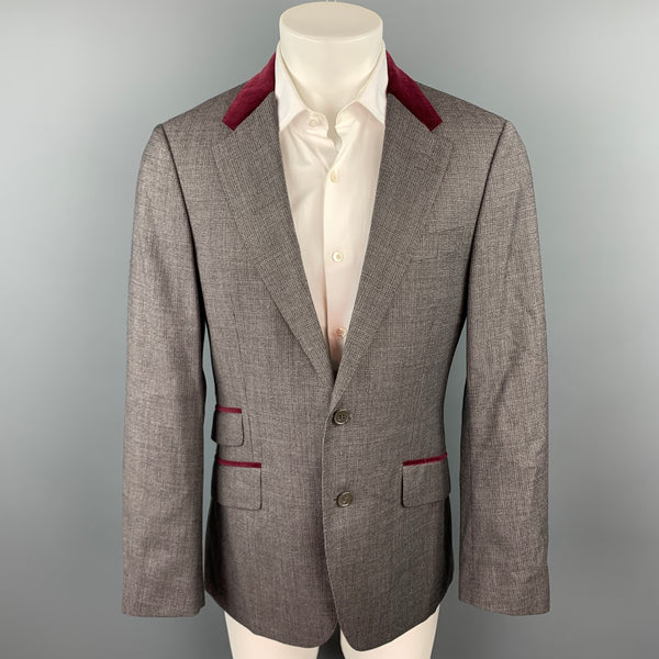 PAUL SMITH The Byard Size 40 Grey Houndstooth Virgin Wool Notch Lapel Sport Coat