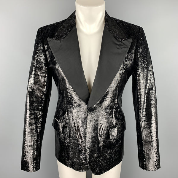 BALLY Size 38 Black Metallic Tinsel Velvet Peak Lapel Blazer