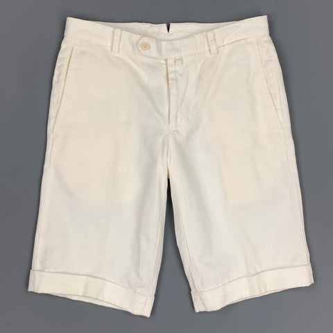 BISHITTO Size 29 White Cotton / Linen Zip Fly Shorts