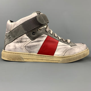 SAINT LAURENT Size 9 Silver Distressed Leather High Top Sneakers