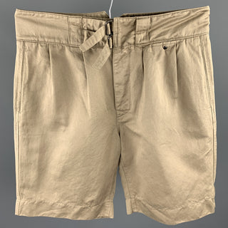 VALENTINO Size 32 Khaki Pleated Cotton Button Fly Shorts
