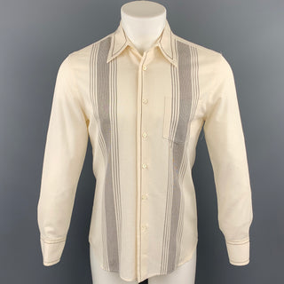 PRADA Size S Cream Stripe Cotton Patch Pocket Long Sleeve Shirt