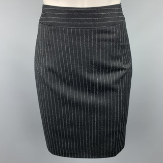 GIORGIO ARMANI Size 4 Black & Grey Pinstripe Pencil Skirt