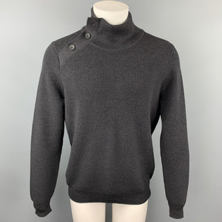 LOUIS VUITTON Size L Charcoal Ribbed Knit Wool Pullover Sweater