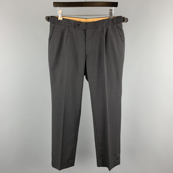 PHINEAS COLE Size 32 Charcoal Solid Wool Zip Fly Dress Pants
