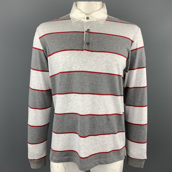 LORO PIANA Size XL Grey & Red Stripe Cotton Buttoned Long Sleeve Rugby Polo