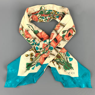 GUCCI Multi-Color Floral Silk Turquoise Border Ascot