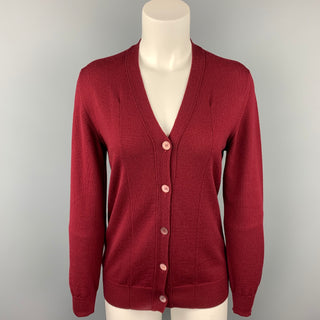 MIU MIU Size 4 Burgundy Knitted Wool Buttoned Cardigan