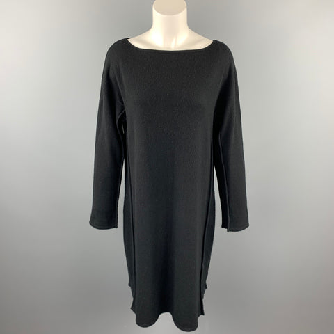 TSE Size M Black Knitted Cashmere Mid-Calf Boat Neck Dress