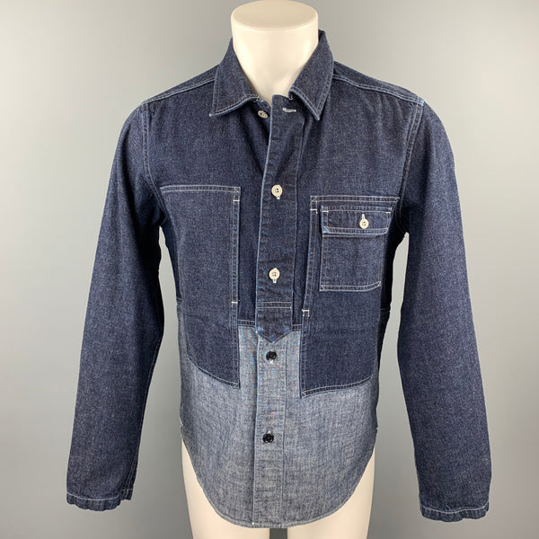 NIGEL CABOURN Size S Indigo Mixed Fabrics Denim Shirt Jacket Long Sleeve Shirt