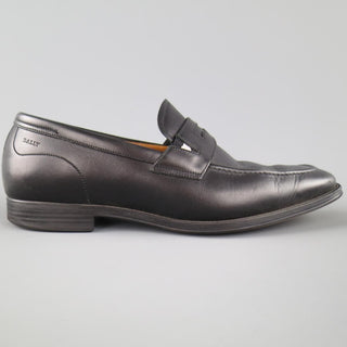 BALLY Size 7.5 Black Leather Penny Loafers