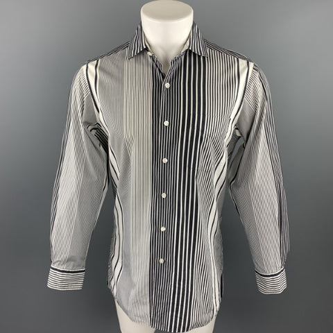 RALPH LAUREN Purple Label Size S Black & White Stripe Cotton Button Up Long Sleeve Shirt