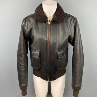 VINTAGE Size L Brown Leather Bomber Jacket