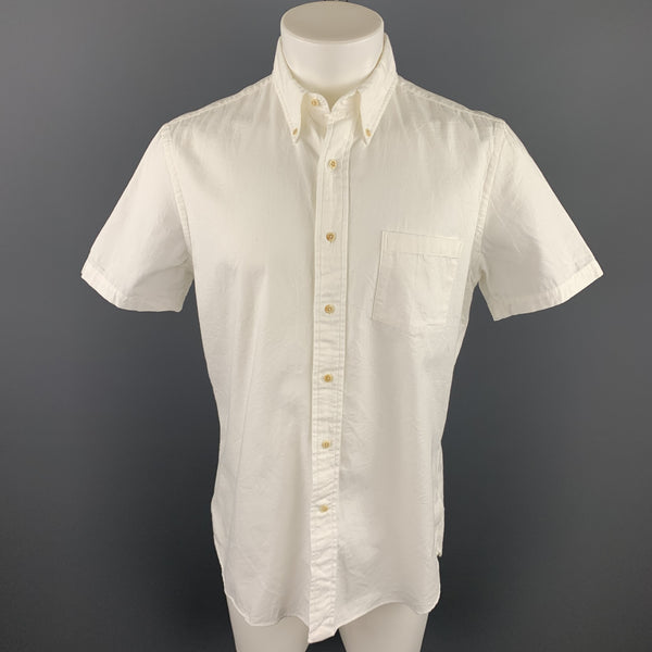 UNIONMADE Size M White Cotton Button Down Short Sleeve Shirt