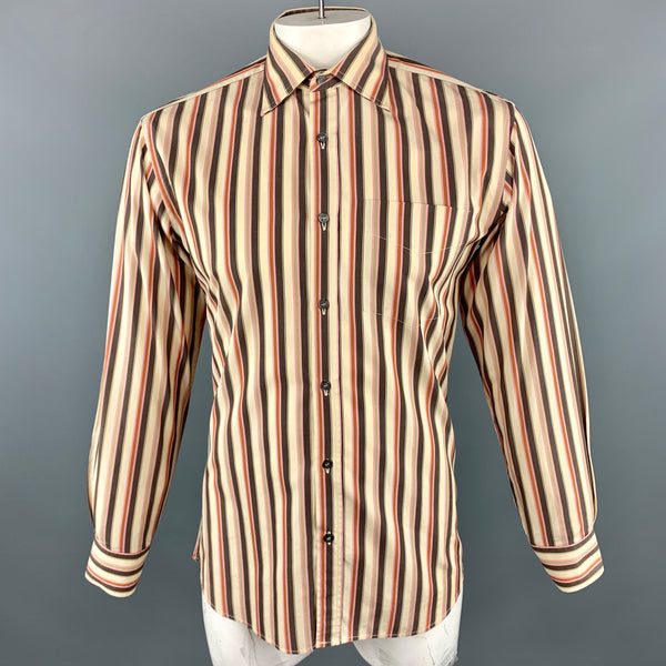 PAUL SMITH Size M Khaki & Brown Stripe Cotton Long Sleeve Shirt