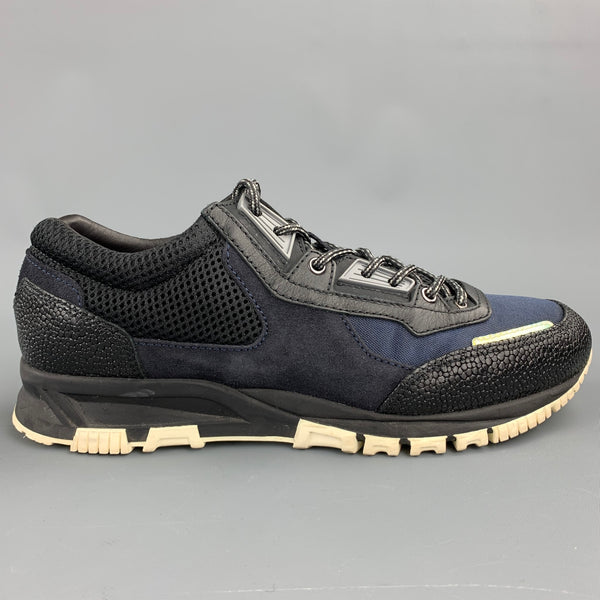 LANVIN Size 9 Black & Navy Mixed Materials Nylon Lace Up Sneakers