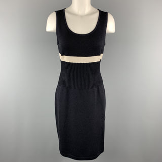 ST. JOHN Size S Black Wool/Rayon Knitted Striped Sleeveless Dress