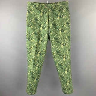 MICHAEL BASTIAN Size 30 Green Print Cotton Button Fly Casual Pants