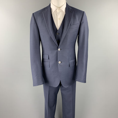 ERMENEGILDO ZEGNA 40 Regular Navy Stripe Wool Notch Lapel 3 Piece Suit
