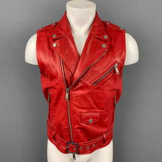 DSQUARED2 Size 40 Red Leather Zip Up Biker Vest