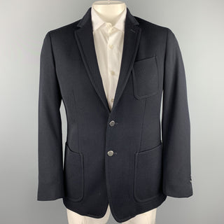 BANANA REPUBLIC Size 40 Regular Navy Wool Notch Lapel Sport Coat