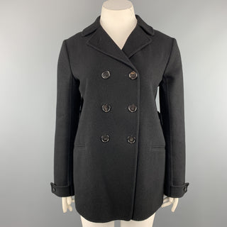 JIL SANDER Size 10 Black Cashmere Flannel Double Breasted Knit Coat