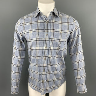 WELCOME STRANGER Size S Light Blue Window Pane Cotton / Wool Long Sleeve Shirt