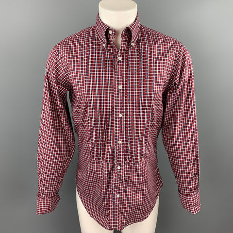 BLACK FLEECE Size S Red & Black Checkered Cotton Button Down French Cuffs Long Sleeve Shirt