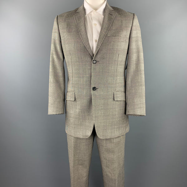DOLCE & GABBANA Size 40 Regular Black & White Glenplaid Wool Notch Lapel Suit