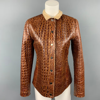 ARMANI COLLEZIONI Size 6 Brown Embossed Leather Jacket