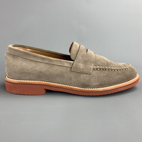 J CREW Size 8.5 Taupe Suede Penny Strap Slip On Loafers