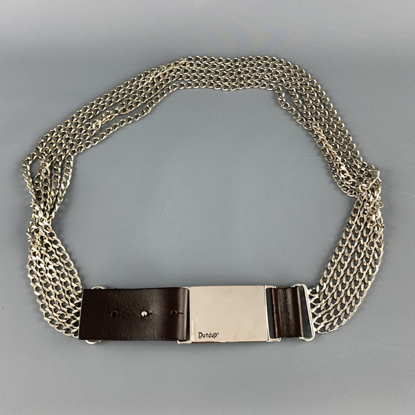 DONDUP Brown Leather Silver Layered Chain Belt