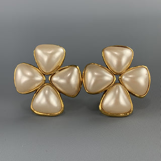 CHANEL Gold Faux Pearl Flower Cluster Clip On Earrings 1991