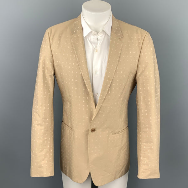 CALVIN KLEIN COLLECTION Size 38 Khaki Print Cotton Sport Coat