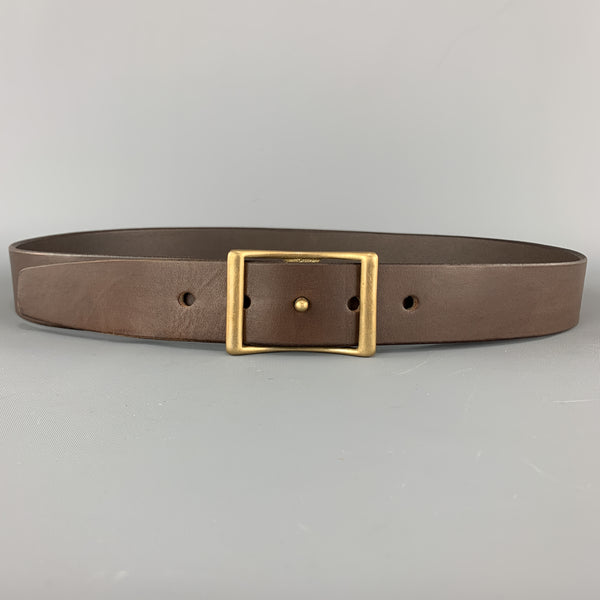 KIKA NY 38 Brown Leather Brass Button Stud Buckle CONWAY Belt
