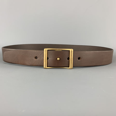 KIKA NY Size 38 Brown Leather Brass Button Stud Buckle CONWAY Belt