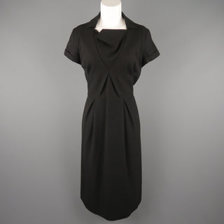 BOTTEGA VENETA Size 8 Black Virgin Wool Collared Origami Shift Dress