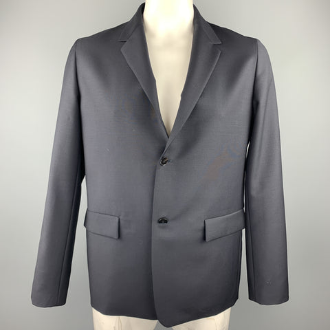 JIL SANDER Size 42 Black Wool / Mohair Notch Lapel Sport Coat
