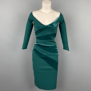 CHIARA BONI Size 4 Green Polyamide Velvet Panels Cocktail Dress